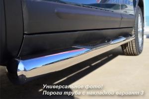 Mitsubishi Outlander Пороги труба d76 с накладками (вариант 3) MOT-0001183